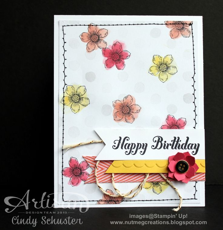 We love the pops of color on this card.: Petite Petals Cards, Cards Ideas, Cards Stampin, Birthday Cards, Cute Pet, Stampinup Com Petite, Watercolor Petite, Watercolor Cards, Spring Cards