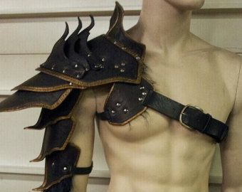Leather Armor Ornate Gothic shoulder IN by SharpMountainLeather