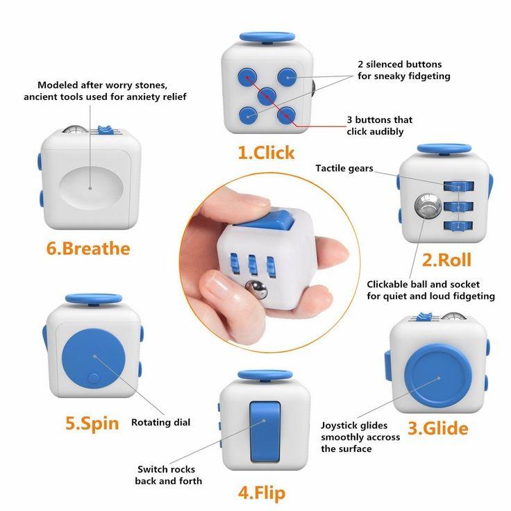 Fidget Cube (WHITE & BLUE) (With images) | Fidget cube ...