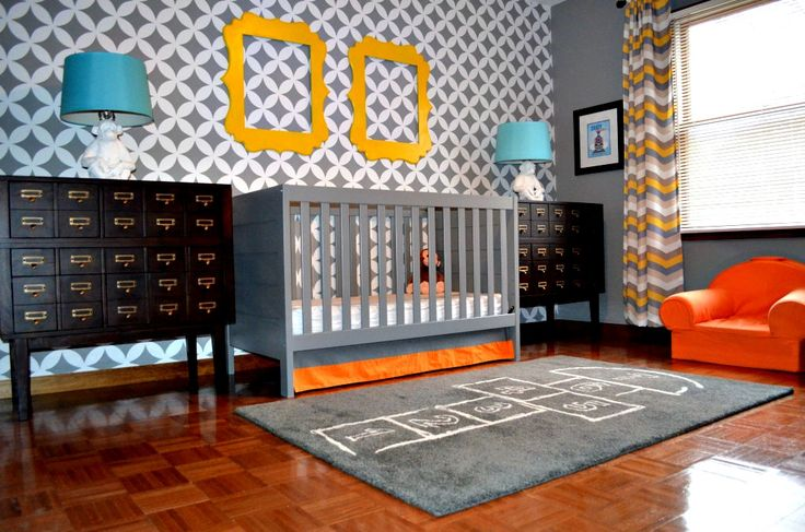 Card catalogs used as storage in this great daddy-designed nursery!: Color Palettes, Boys Nurseries, Projects Nurseries, Baby Rooms, Hopscotch Rugs, Gray Wall, Kids Rooms, Baby Nurseries, Gray Nurseries