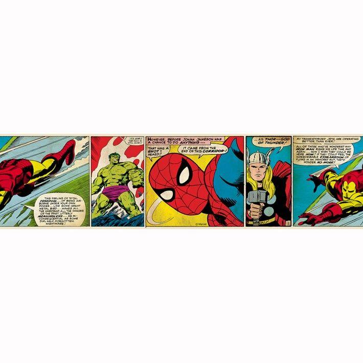 Marvel Comic Strip border Self adhesive wallpaper