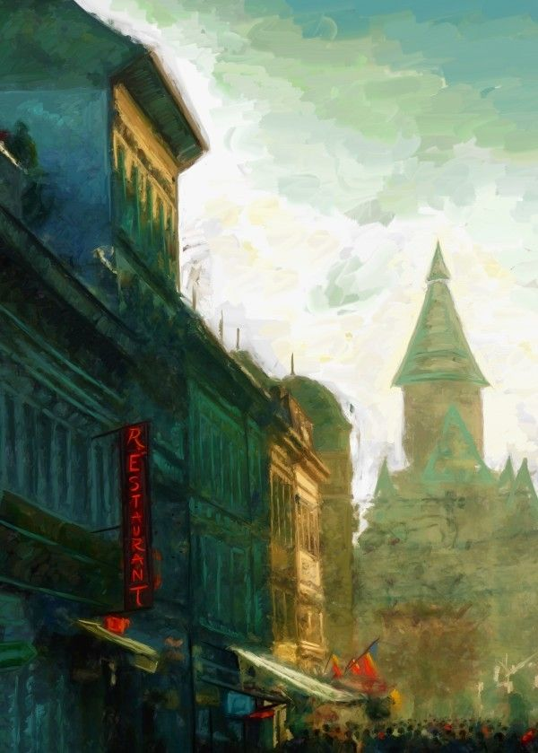 Digital impressionist painting depicting a street leading to Victory Square in Timisoara, Romania. With the metropolitan cathedral visible in the background.