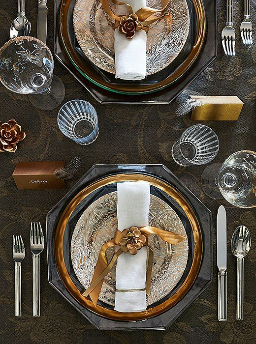 "For this holiday table, Susan opted for floral and pheasant nods for a setting that's fun and festive rather than overtly seasonally themed. ""I wanted to do something festive with a little sparkle but not overly glitzy,"" she says."