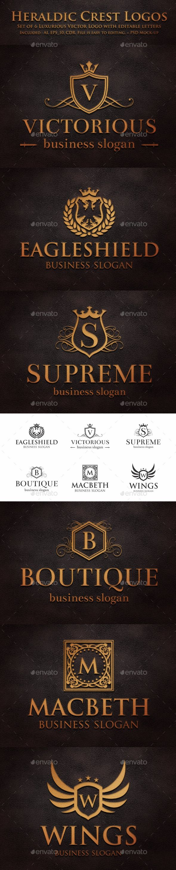 Luxurious Heraldic Crest Logos – Retro Vintage Royal Luxury Elegant crests and emblems.  Royal Heraldic Elegant Logo Collection – Vintage coat of arms – Fashion & Elegant company logotypes.  Royalty Logo Crests – Suitable for businesses and product names, luxury industry like Hotel, Wedding, Real Estate, Leisure business, Luxury restaurant, Beauty Salon, Fashion and clothing businesses...
