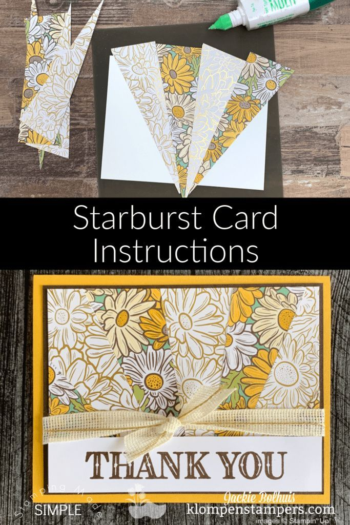 How To Make A Starburst Card The Easy Way Klompen Stampers Cards Sunburst Cards Card Making Video Tutorials Card Making Videos