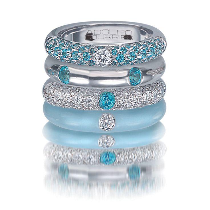 blue topaz eternity ring white gold   ... 18 Karat White Gold, Enamel, Blue Topaz, & Diamond Stack Ring Set