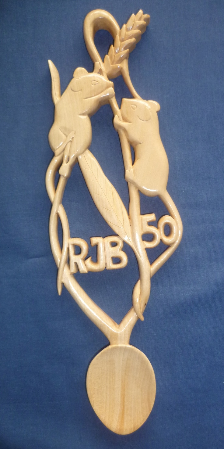 This birthday love spoon has two harvest mice on a couple of ears of corn. www.adamking.co.uk