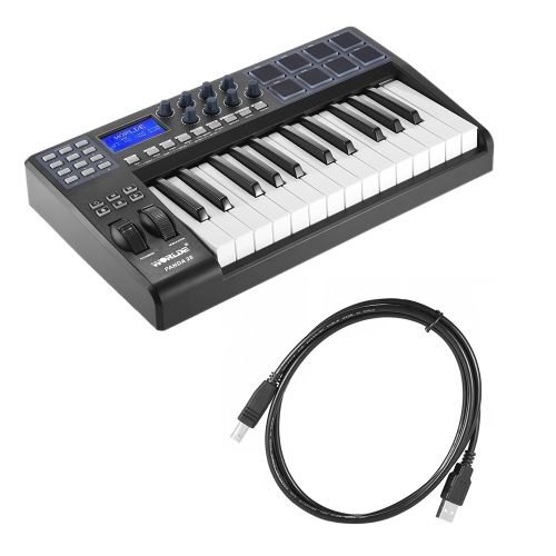 PANDA25 25-Key Ultra-portable USB MIDI Keyboard 8 Drum Pads Controller with USB Cable