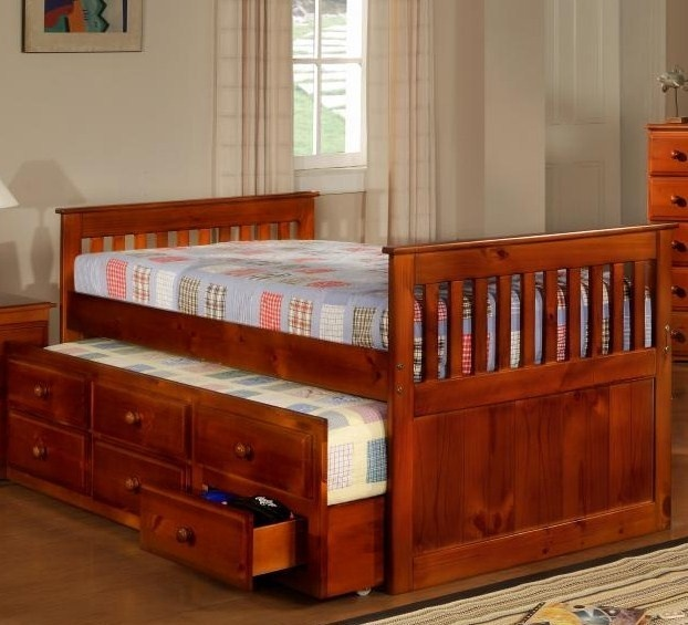 Solid Wood Twin Captains Bed W Trundle And Storage In