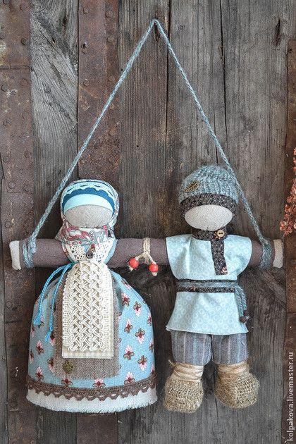 """Народные куклы ручной работы. Ярмарка Мастеров - ручная работа. Купить куколка-оберег Неразлучники """"Ягодник"""".. Handmade. Бирюзовый"""
