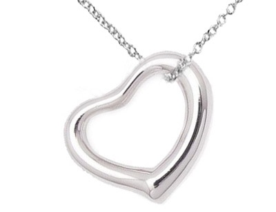 Open Heart Pendant in Sterling Silver with Chain