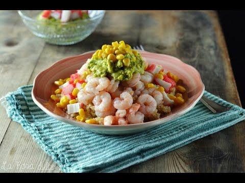 Ensalada de quinoa, gambas y guacamole - La Rosa dulce