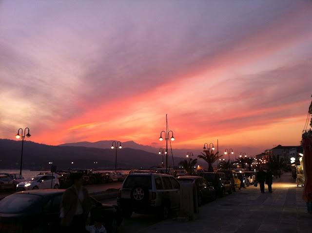 sunset in vathi, samos