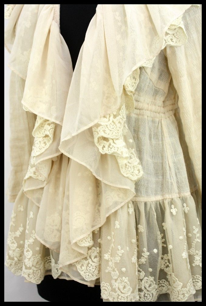 ryu clothing | Ryu Size L Cream Lace Ruffled Tie Cinched Waist Vintage Anthropologie ...