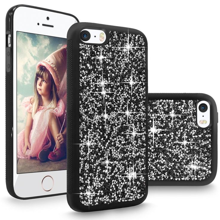 iPhone SE Case, Cellularvilla [Slim Fit] Luxury Bling Rhinestone Diamond Case For Apple iPhone SE 2016 & iPhone 5S 5 [Scratch Resistant] Shock-Absorbing Bumper Cover Hard Back Panel (Black Silver). Specially designed for Apple iPhone SE (2016) / iPhone 5S / iPhone 5. Back Hard PC Studded with Rock Crystal Bling Rhinestone make your phone look like unique and sparkle. Made with premium quality anti stretch Thermoplastic polyurethane (TPU) and polycarbonate (PC) material provides best...