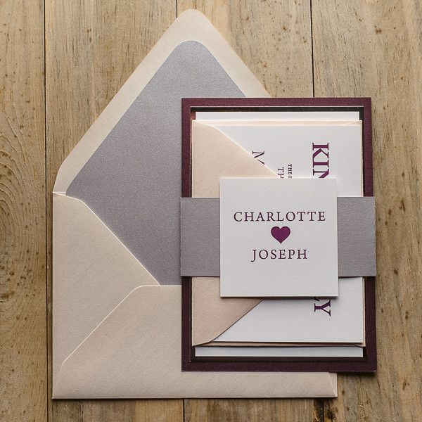 CHARLOTTE Suite Fancy Romantic Package, marsala, blush, silver, sweet wedding invitations, cute wedding invitations, wedding invitation with heart