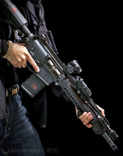 Larue .308 battle rifle, Aimpoint Micro, dBal lazer unit, Surefire scout light: Photo Credit Isaac Marchionna