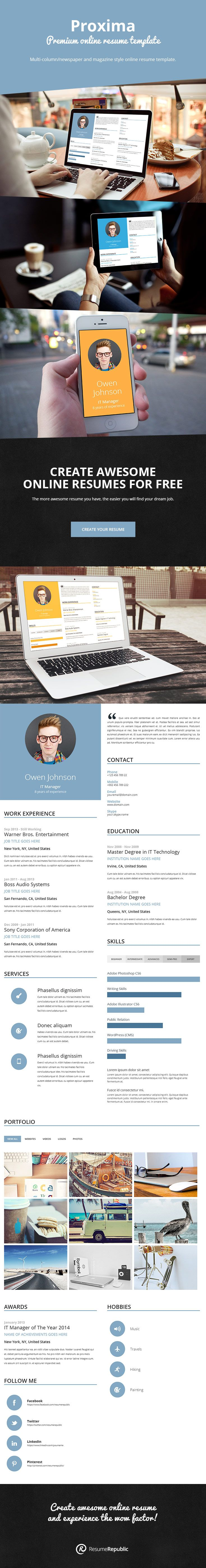 Proxima | Premium Online Resume Template. Proxima Is A Unique Multi Column /newspaper