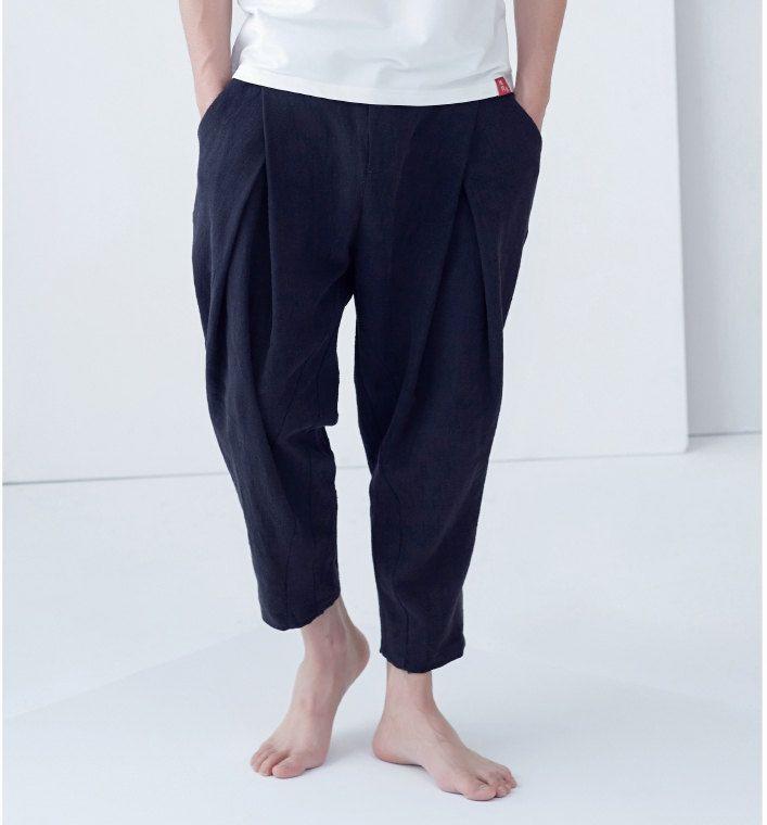 Men's linen leisure fold feet nine points flax haroun pants loose fashion harem pants by complus on Etsy