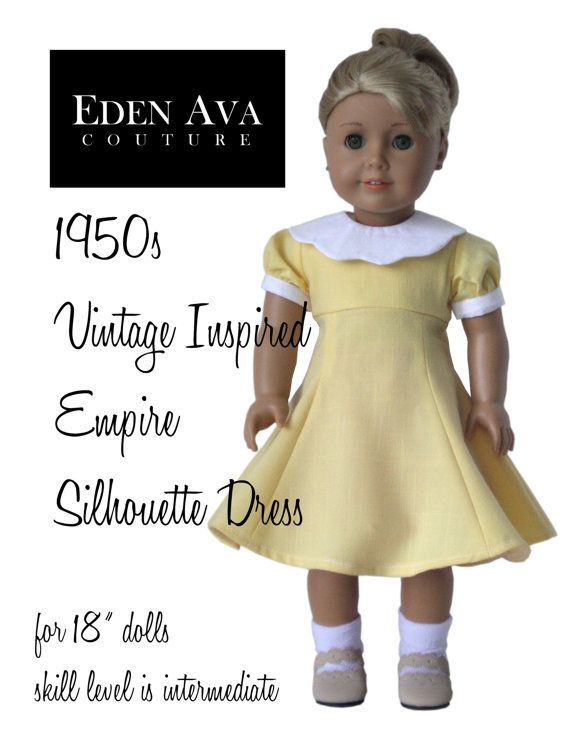 "Eden Ava Couture 1950s Empire Silhouette Dress Sewing Pattern for 18"" American Girl Doll"
