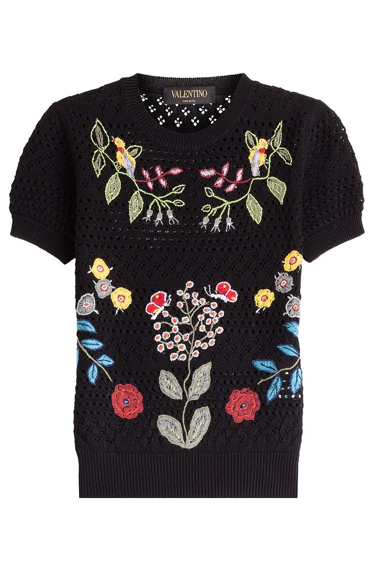 VALENTINO Open Knit Top With Floral Applique. #valentino #cloth #scoop neck