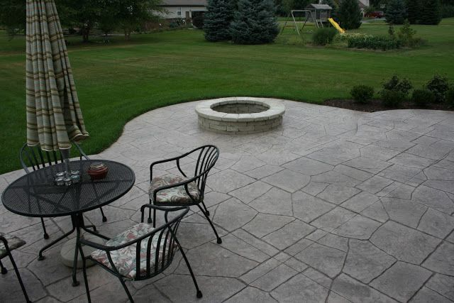 concrete patio with fire pit | Stamped Concrete - South Lyon-Michigan