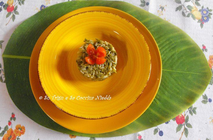 risotto di primavera con bruscandoli preparato da Tiziano nella cucina di Su Trigu e Sa Cocciua Niedda