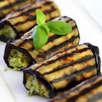 Grilled eggplant with homemade pesto