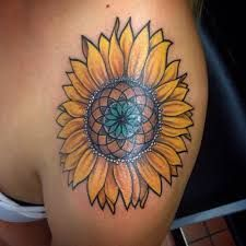 Image result for sunflower with sacred geometry center tattoo