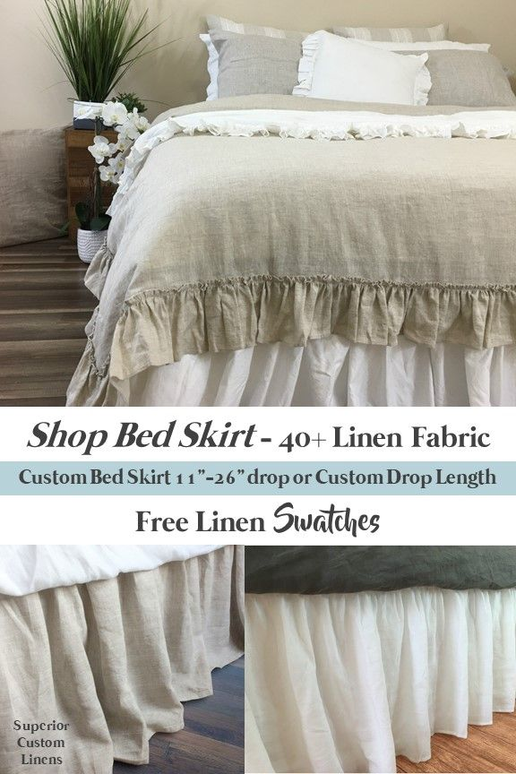 Natural Linen Bed Skirt With Gathered Ruffle Various Drop Length For Your Preference Or Custom Made To Fit Detachable Design Easy Laundry 40