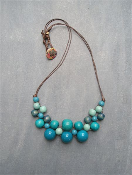Blue Bib Wooden Bead Necklace                                                                                                                                                     More