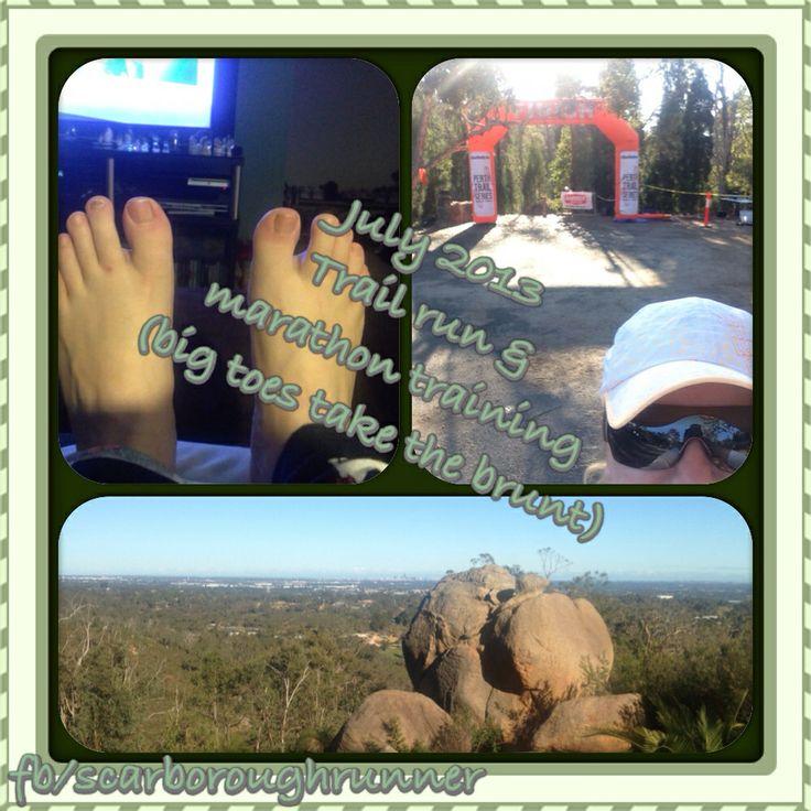 July 2013 Marathon training in full swing, big toes get stripy. Did a Perth Trail Series run. Lots of fun !!