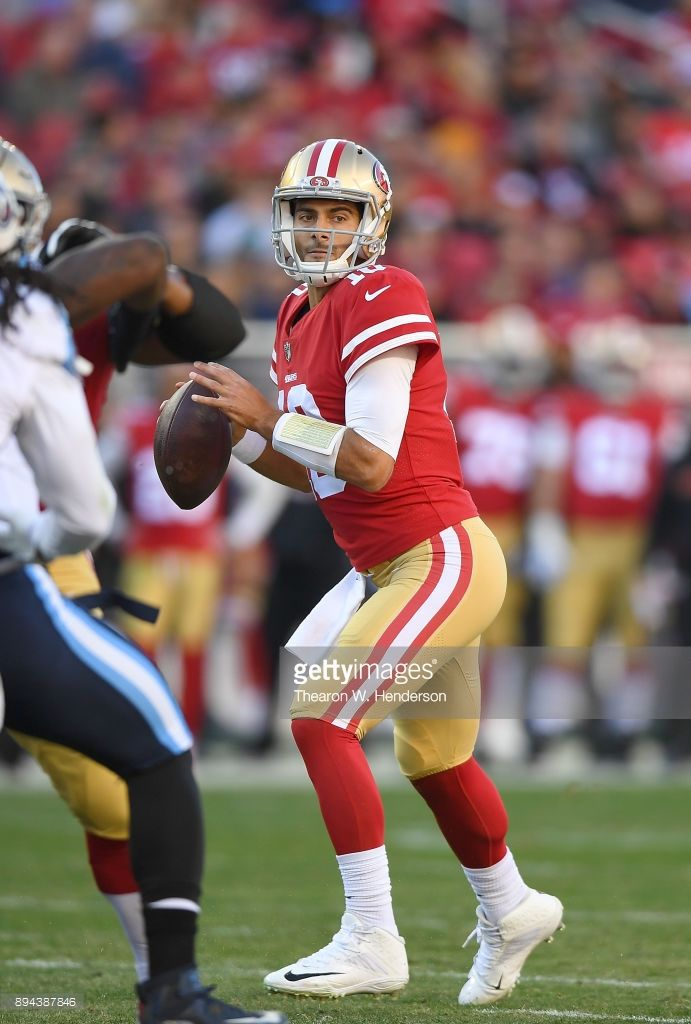 News Photo : Jimmy Garoppolo of the San Francisco 49ers drops...