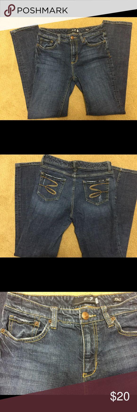 Seven7 Jeans Medium/Dark Wash Distressed Pockets Straight Leg Size- 6 Seven7 Jeans Straight Leg