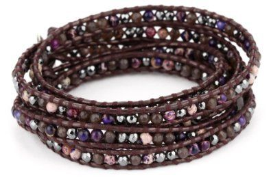 Chan Luu Mixed Semi Precious Stones on Dark Brown Leather Bracelet