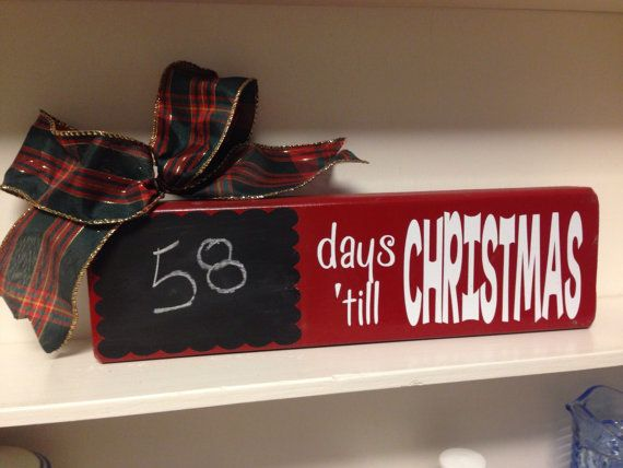 2x4 wood block 12 inches days till Christmas by SJCustomCreation
