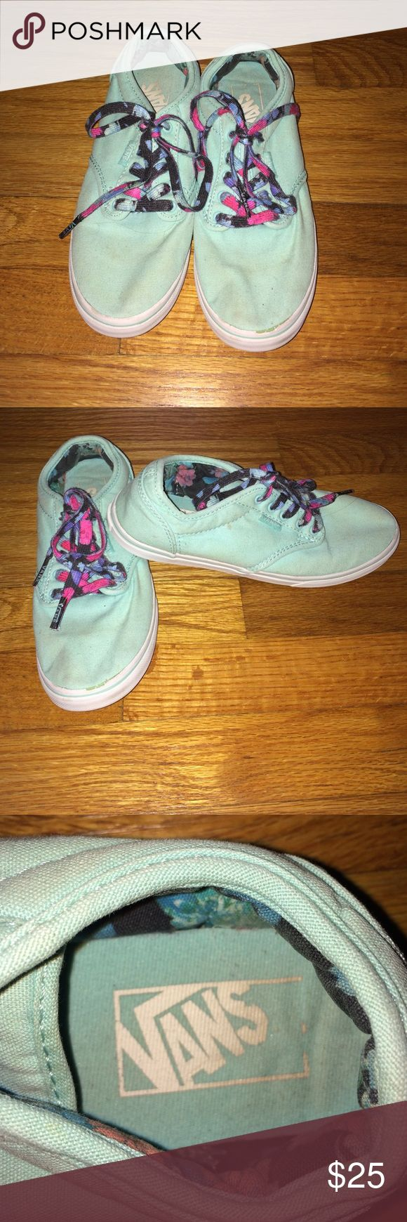 Mint VANS These mint VANS have been worn a lot but with a wash it look pretty good. 6.5 in women's with floral shoe laces. Vans Shoes Sneakers