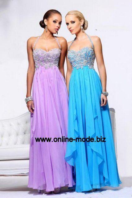 Elegantes Abendkleid in Blau Flieder von www.online-mode.biz