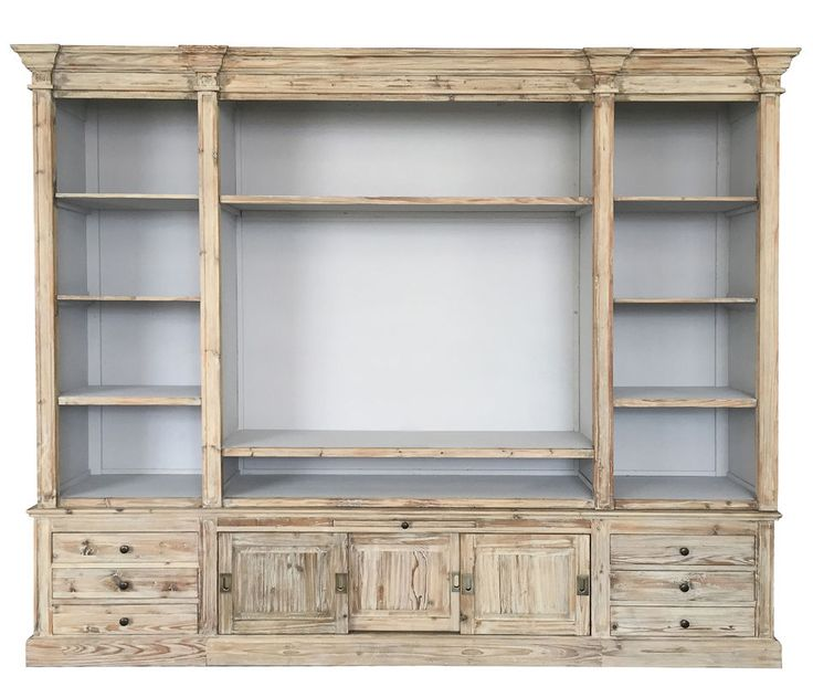 TV Bookcase Solid Pine 7 Shelves 6 Drawers Nae Handmade Free Shipping 104 Wide