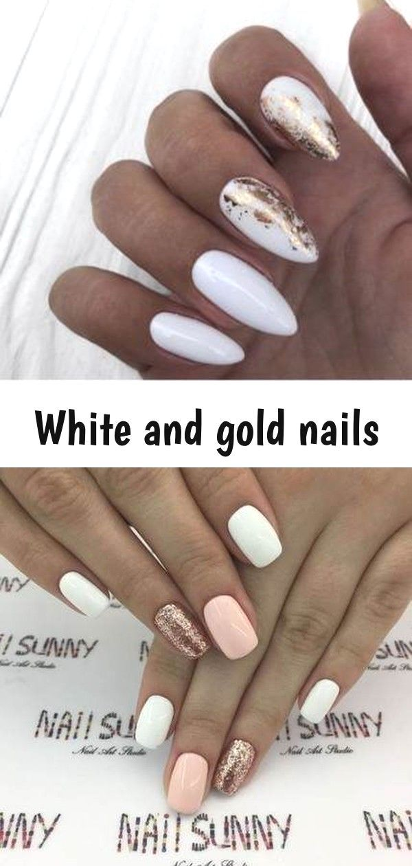 White And Gold Nails White And Gold Nail Designs Whiteandgoldnails Elegantnails Naildesigns Weddingnai White Nails With Gold Gold Nail Designs Gold Nails
