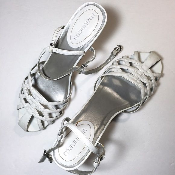 White birdcage sandals with heel Beautiful but yet simple white birdcage sandals. They do have a heel. Purchased at Maurice's. Ships in box. They have been worn a few times but still have A LOT of life left. In great condition. ✅ Bundle and save on shipping! ✅ All reasonable offers are considered.  ✅ I always ship right away.  ❌ Trades ❌ Lowballing Maurices Shoes Heels