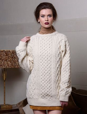 7b707f30549125 Women's Oversized Wool Cashmere Aran Sweater | Elegant Sweaters and ...