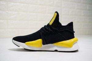 ee9632a048541 Mens Adidas Y-3 Kaiwa Chunky Primeknit Black white yellow AQ2931 Running  Shoes