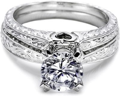 Tacori Hand Engraved Fitted Wedding Band. Can I pull off this band with my engagement ring?