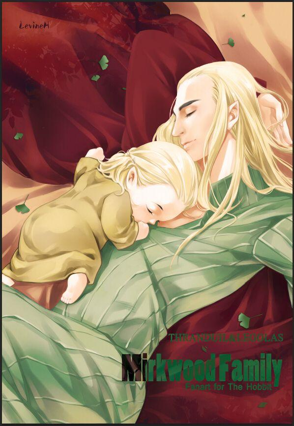 "Thranduil and little Legolas from ""The Hobbit"" - Art by 桃花刺身豚"