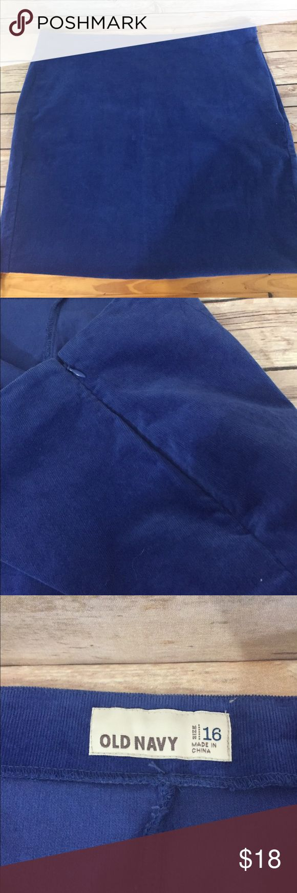"""Old Navy Blue Corduroy Skirt Sz 16 Love this bright happy blue stretch  corduroy skirt from Old Navy. It's in like new condition, size 16, flat front side zipper. Lying flat, the waist area measures 20 inches, hips measures 23"""", overall length 21"""". Great basic that is not so basic!  B155 Loc Old Navy Skirts"""
