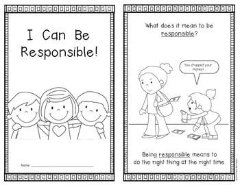 {I Can Be Responsible} Emergent Reader Kindergarten and First Grade Social Studies. 10 page; includes color and blackline versions. $