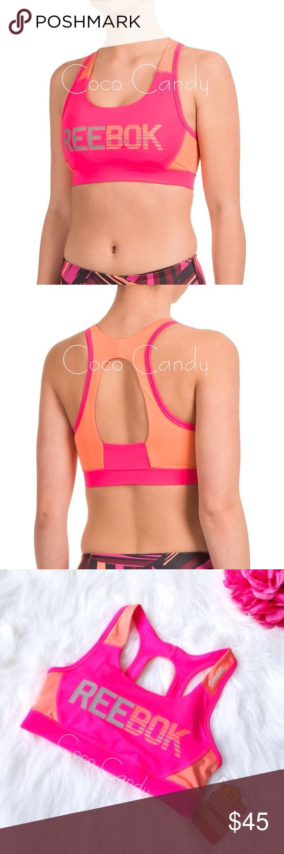 ⭐️SALE‼️Reebok Sports Bra Reebok Sports Bra✨  Size: XS✨  New With Tags✨  Color: Pink & Orange✨  Get compressive support without a restrictive fit in Reebok's competitor sports bra, fashioned from moisture wicking knit fabric & a healthy dose of stretch for moveable comfort. Four way stretch & removable padding. Racerback with keyhole design. Logo on front✨  92% polyester 8% spandex  ⭐No Trades ⭐No Modeling ⭐️Use The Offer Button ⭐️15% Off 2 Or More Items ⭐️Free Gift With Every Order ⭐️Same…