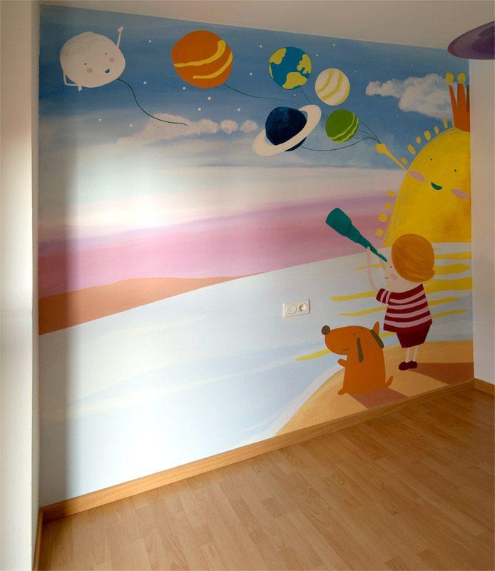 planetas dibujados en un mural infantil