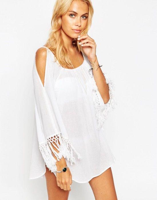 robe de plage blanche transparente